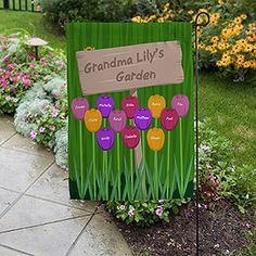 LOVE this Mother's Day Gift idea for Grandma! The tulip design is so pretty and you can personalize one for every grandchild! Such a cute personalized garden flag!