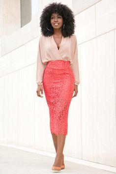 Long Sleeve Faux Wrap Blouse + Lace Pencil Midi Skirt