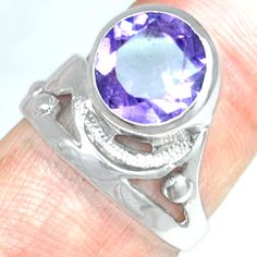925 Sterling Silver Natural Purple Amethyst Ladies Ring Fashion Fine Jewelry $