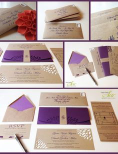 "Kraft Paper Wedding Invitation 4""x9""-Wedding-Invitations-Unique Wedding Invitations. $3.25, via Etsy."