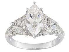 Bella Luce (R) 4.41ctw Marquise And Round Rhodium Plated Sterling Silver Ring