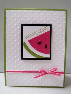 Watermelon card using the Perfect Polka Dots embossing folder and Circle Framelits from Stampin' Up.  Find it on my blog http://scraphappenshere-darla.blogspot.com/