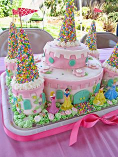 Homemade By Jill Rubys Ultimate Princess Party I Would Do This Differently But Like The Use Of Several Sizes Cake Pans Plus Baked In Cans
