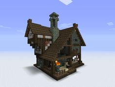 I like the central chimney - Minecraft - Lego Minecraft Villa, Minecraft World, Plans Minecraft, Minecraft Cottage, Minecraft Mansion, Minecraft Houses Survival, Easy Minecraft Houses, Minecraft House Tutorials, Modern Architecture