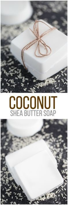 Coconut Shea Butter Soap – Making your own soap couldn't be any easier! This… Coconut Shea Butter Soap – Making your own soap couldn't be any easier! This Coconut Shea Butter Soap smells heavenly and feels luxurious on your skin. Diy Savon, Savon Soap, Homemade Soap Recipes, Homemade Gifts, Homemade Soap Bars, Soap Making Recipes, Homemade Butter, Homemade Facials, Homemade Cards
