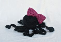 Sparkle Black Octopus Amigurumi Plush with by FluffNStuffCreations