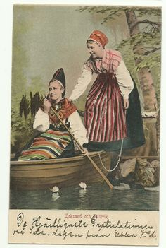 Letting a little neighborly Sweden in here!! The left bunad is just like mine! Sweden postcard WOMEN Folk Costume Dalarna early 1900s