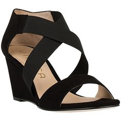 Unisa Diana Wedge Heeled Sandals, Black (€125) ❤ liked on Polyvore featuring shoes, sandals, black flat sandals, leather wedge sandals, strappy wedge sandals, wedge heel sandals and black strap sandals