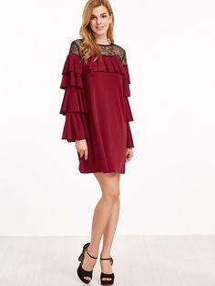 Rüschen Kleid 2017 Kontrast Sheer Kragen Weinrot
