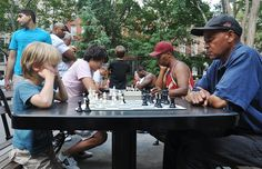 Charlie playing chess in Washington Square Park by c-weiss, via Flickr