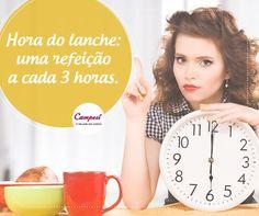 Não deixe a fome acumular! O ideal é fazer um lanche leve de três em três horas, evitando que você exagere na quantidade de comida nas refeições. Marque no relógio! #dicaCampesí
