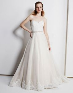 Henry Roth Siohbahn - Classic A-line ball gown with Alencon lace bodice, dramatic Alencon lace hem and delicate jeweled belt at natural waist. Second Wedding Dresses, Stunning Wedding Dresses, Wedding Dresses Photos, Wedding Dress Sleeves, Bridal Wedding Dresses, Fairytale Gown, Bridal Gown Styles, Wedding Dress Gallery, Ball Gown Dresses