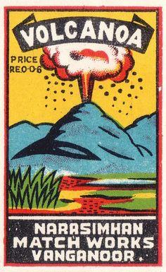 Volcano: Vintage matchbox label