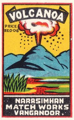 Volcano: Vintage matchbox label