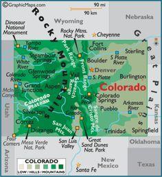 Map of Colorado CO