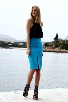 Asos top, Supermuse skirt, Sophia Webster heels, Jacquie Aiche finger bracelet and ring, Gorjana cuff, Rebecca Minkoff rings