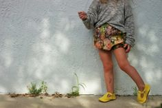 The crafted co.// forest floral bloomers// olive slouchy sweater// mon petit shoes// kids fashion// kids style// baby fashion