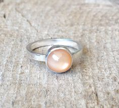 Simple Elegant Peach Moonstone Solitaire Ring in by GildedBug