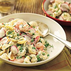 Orecchiette with Peas, Shrimp, and Buttermilk-Herb Dressing | MyRecipes.com