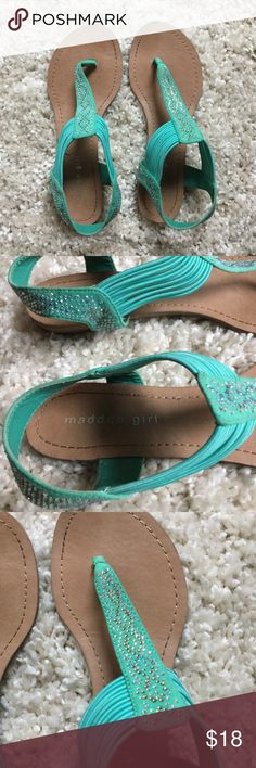 teal sandals | madden girl worn once or twice bought from another posher, don't fit me  ▪️If you like it, make an offer. ▪️Have a question, hit the comment button. ▪️Offers are always welcome as my prices are flexible, because who doesn't love a little friendly banter. ▪️No lowball offers or requests to trade/sell off posh please Madden Girl Shoes Sandals