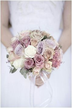 Beautiful Bridal Bouquet Comprised Of White, Cream, Blush, Champagne, & Lavender Roses + Eucalyptus Champagne Wedding Flowers, Country Wedding Flowers, Rose Wedding, Purple Wedding, Wedding Colors, Dream Wedding, Wedding Shoes, Wedding Cake, Bride Bouquets
