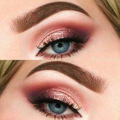 Eye Makeup Blue, Pink Eyeshadow Look, Summer Eye Makeup, Natural Eye Makeup, Skin Makeup, Makeup Eyeshadow, Eyeliner, Fresh Makeup, Eyeshadow Ideas