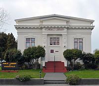 The Ferndale CA library opened to the public in 1908. This is the only Carnegie Grant Library in northwestern California still functioning as a library.