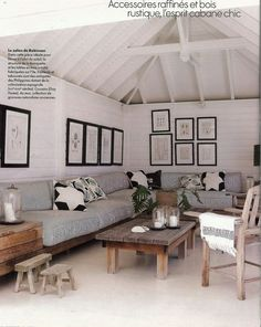 perfect for a screen porch or sun room... so clean and comfortable, just love it. amazing in st. barts via elle decor france