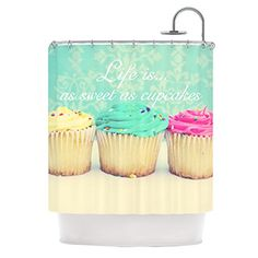 Kess InHouse Beth Engel Life is as Sweet as Cupcakes Green Shower Curtain 69 by 70Inch ** See this great product.