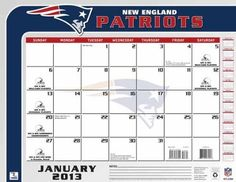 Perfect Timing - Turner 2013 New England Patriots Desk Calendar, 22 x 17 Inches (8061247) by Perfect Timing - Turner. $13.88. This large-scale calendar is perfect for any desk. Ample space for notes and doodles, the team desk calendar will help keep you on schedule and up to date.