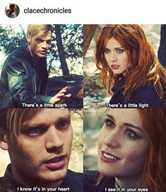 Clary's face on both pictures Malec, Clace Fanart, Mortal Instruments Funny, Shadowhunters The Mortal Instruments, Clary Et Jace, Shadowhunter Quotes, Shadowhunters Tv Series, Cassandra Clare Books, Dark Hunter
