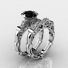 Art Masters Gothic Wedding Ring Set. Check out more awesome Gothic designs http://www.uniqueintuitions.com #gothic #uniqueintuitions #weddingring #ring