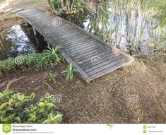 small pond bridges   Small Wooden Bridge Over A Pond Stock Photo - Image: 45627493