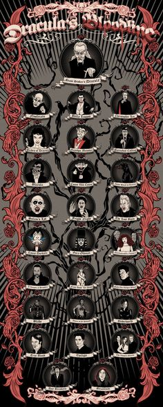 The Dublin film festival has commissioned a super cute (totally non-canon) bloodline of various vampires over the years. (Which makes sense, because Ireland is the birthplace of the original Dracula.) We kind of love it.