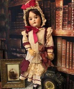 """Cotton Dress Bonnet for 26"""" Antique Doll #antiquedollplace"""