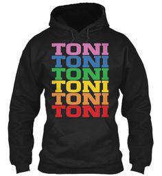 Toni Rainbow Colors Black Sweatshirt Front