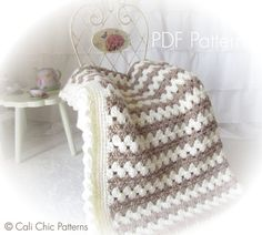 Crochet Baby Blanket PATTERN 58 Teddy Bear by CaliChicPatterns