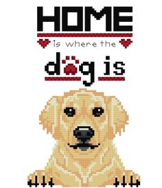 Where the Dog Is - Golden Retriever Cross Stitch Pattern - Instant PDF Download by InglesideImaginarium on Etsy https://www.etsy.com/listing/458618678/where-the-dog-is-golden-retriever-cross