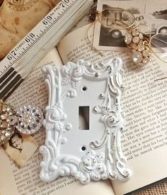 Metal Wall Decor Light Switch Cover In White by AlacartCreations on Etsy.com