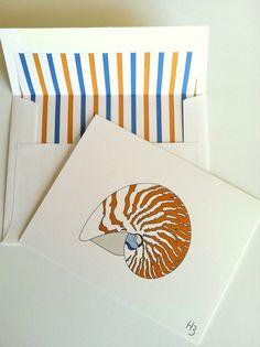 Nota costiera Card - Nautilus Shell nota carta con coordinamento foderato busta bianca