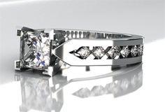 Contemporary Princess Cut Diamond Ring - Shapiro Diamonds