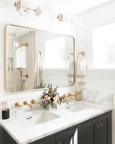 "The Theo Sconce with 6"" glass in White and Brass frame this mirror perfectly! Beautiful bathroom design. Timeless designs by @cohesivelycurated 📷 @caskro #Teengirlbedroomideas"