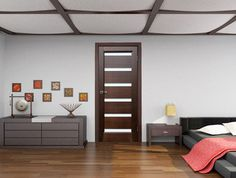 Bedroom Door, Dark Wenge with Frosted Glass - contemporary - interior doors - new york - Ville Doors
