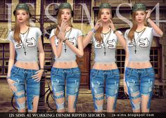 Ripped Denim Shorts and Jeans for Teen & Adult Females by JS Sims 4 Cute Ripped Jeans Outfit, Ripped Jean Shorts, Denim Shorts, The Sims, Js Sims 4, Jean Outfits, Kids Outfits, Sims 4 Blog, Sims4 Clothes