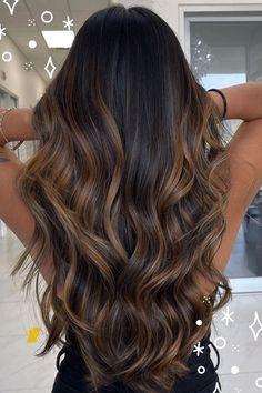 Balayage Hair Caramel, Hair Color Caramel, Brown Hair Balayage, Brown Hair With Highlights, Hair Color Balayage, Lowlights For Black Hair, Balayage Hair For Brunettes, Black Hair With Balayage, Brown Balyage