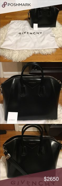 Brand New Givenchy Antigona black leather handbag BNWT GIVENCHY Medium Antigona Black leather (Calf) 100% AUTHENTIC.This item's measurements are:Depth 19.5cm,Handle Drop 9cm, Height 28cm Max. Strap Length 81cm, Width 41cm,Two top handles, detachable shoulder strap,Designer plaque, silver hardware,Internal zipped and pouch pockets,Fully lined in black canvas,Zip fastening along top.Comes with dust bag Weighs approx. 5.5lbs/2.5kg.✖️No trades.Price is pretty firm but much less in eBay and on…