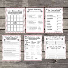 Pink and Grey Elephant Baby Shower Game Package - Bingo - Price is Right - Whats in Your Purse - Activities - 227