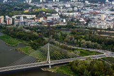 Warszawa: z lotu ptaka. Most Świętokrzyski i prawobrzeżna strona stolicy.
