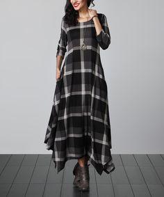 Look at this #zulilyfind! Charcoal Plaid Handkerchief Maxi Dress by Reborn Collection #zulilyfinds