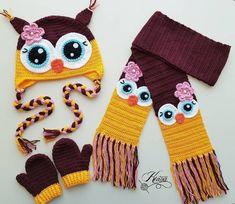 cute crochet hat and scarf! Crochet Kids Scarf, Crochet Owl Hat, Crochet Toddler, Crochet Beanie Hat, Crochet Teddy, Crochet Quilt, Crochet Shoes, Love Crochet, Crochet Scarves